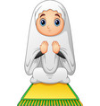 muslim girl sitting on the prayer rug while prayin vector image vector image