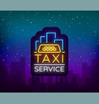 neon taxi logo isolated on a brick background vector image