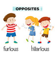 opposites furious and hilarious vector image vector image