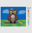 owl diagram for embroidery with a cross can be vector image vector image