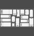 realistic 3d detailed empty ticket template set vector image vector image