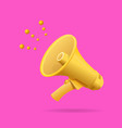 realistic detailed 3d yellow megaphone vector image vector image