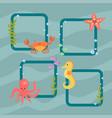 sea animals creatures characters cartoon vector image