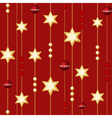 seamless christmas balls and stars on the red back vector image vector image