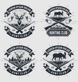 set of vintage style hunt club logos labels vector image vector image