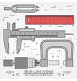 Set thin line icons caliper ruler pair of vector image
