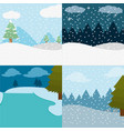 set winter landscape and snowing weather vector image