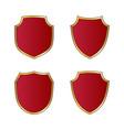 shield gold red icons set shape emblem vector image vector image