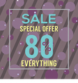 Special Offer 80 Percent On Purple Bubbles vector image vector image