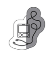 sticker silhouette with tech portable music device vector image