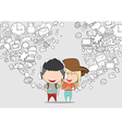 Teenage girl and boy wearing hat playing vector image