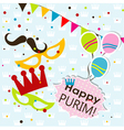 Template Jewish holiday Purim greeting card vector image