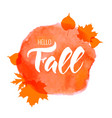 texture lettering hello fall on the colored vector image vector image