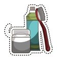 Toothbrush and toothpaste isolated icon vector image