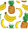 tropical pattern with pineapple and banana vector image