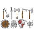 viking weapons and ammunition collection colored vector image