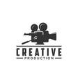 vintage video camera logo design for movie vector image
