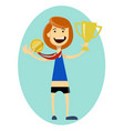 woman runner wins and gets gold medal sporting vector image