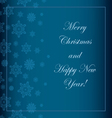 Blue Christmas background with snowflakes and a wi vector image