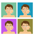 teenager boy with facial skin problems vector image