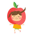 apple girl vector image
