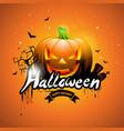 happy halloween with pumpkin vector image
