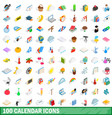 100 calendar icons set isometric 3d style vector image vector image