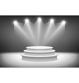 3d isolated Empty white podium on gray background vector image vector image