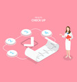 3d isometric flat concept health check vector image vector image