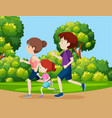 a family jogging in the park vector image