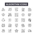 algorithm line icons signs set outline vector image vector image