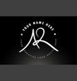 ar handwritten letters logo design with circular vector image vector image