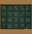 arrow chalkboard hand draw line icons set vector image vector image