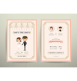 Art Deco Cartoon Couple Wedding Invitation Card vector image vector image