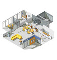 bank office interior isometric composition vector image vector image