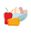 bowl eggs peppers preparation cooking vector image vector image