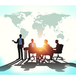 Business meeting with worldmap vector image vector image