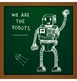 chalk draw robot on blackboard Eps10 vector image vector image