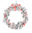 christmas festive wreath fir branches holly vector image vector image