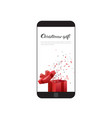 christmas gift message on modern cell smart phone vector image vector image