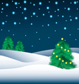 Christmas trees in the snow and the starry night s vector image