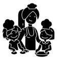 cooking woman with kids - bakery family icon vector image vector image