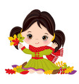 cute little girl with autumn leaves vector image
