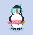 cute penguin cartoon with donut pool float vector image