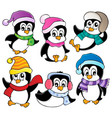 cute penguins collection 3 vector image