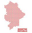Donetsk republic map - mosaic of valentine hearts