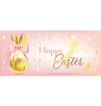 easter cute golden egg with bunny bow in confetti vector image vector image
