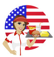 employee with fast food on tray over usa flag vector image vector image