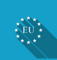 flag of european union icon with long shadow vector image