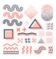 funky memphis graphic elements isolated vector image